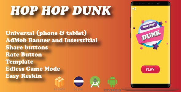 Hop Hop Dunk ( Android Project + Admob + Bbdoc are included)