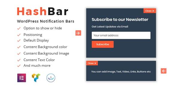 HashBar Pro - WordPress Notification Bar by HasTech | CodeCanyon