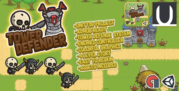 Tower Defender : Unity3d Game Source Code + Admob Ads by