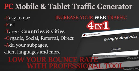 PC & Mobile Organic, Social, Referrer, Direct Traffic Generator