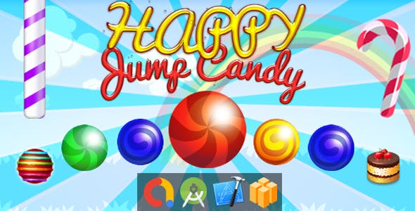 Sweet Candy Jump (Buildbox + iOS Xcode + Android Studio + Admob + GDPR Support + API 27 + Eclipse)