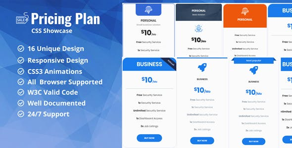 Pricing Plan / Pricing Table CSS Showcase