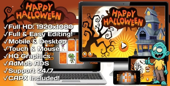 Happy Halloween - HTML5 Game 18 Levels + Mobile Version! (Construct 3 | Construct 2 | Capx)
