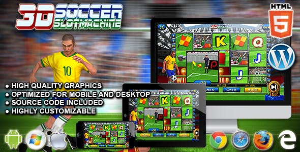 3D Soccer Slot Machine - Premium HTML5 Casino Game