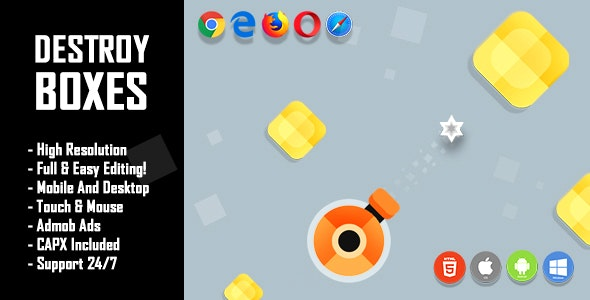Destroy Boxes - HTML5 Game + Mobile Version! (Construct 2 / Construct 3 / CAPX) - CodeCanyon Item for Sale