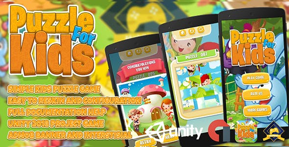 Kids Puzzle Game + Admob Ads Ready + Easy Reskin Setups