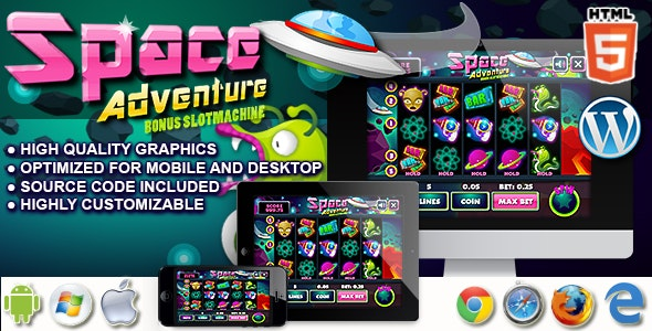 Slot Machine Space Adventure - HTML5 Casino game - CodeCanyon Item for Sale