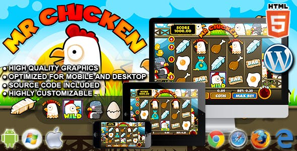 Slot Machine Mr Chicken - HTML5 Casino Game