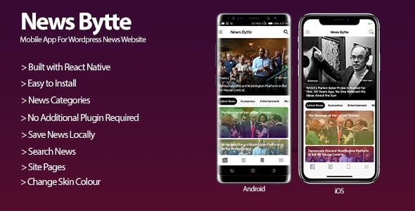 News Bytte - Wordpress News Website Mobile Application - CodeCanyon Item for Sale