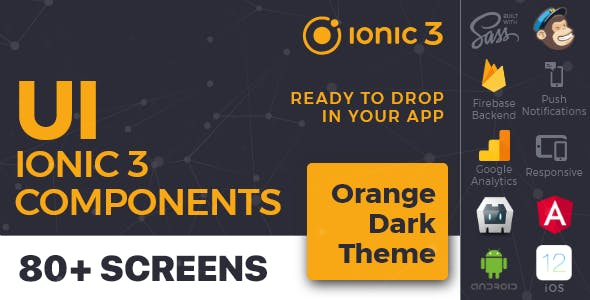 Orange Dark - Ionic 3 / Angular 6 UI Theme / Template App - Multipurpose Starter App