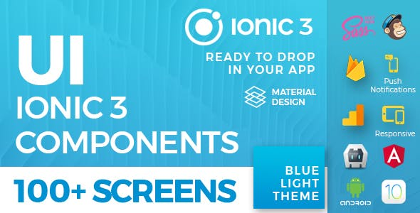 Ionic 3 UI Theme/Template App - Material Design - Blue Light        Nulled