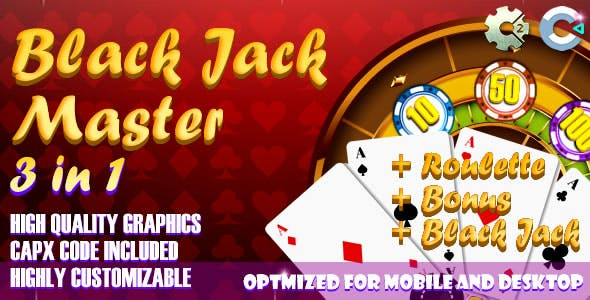 Black Jack - Master 3 in 1 (C2, C3, HTML5) Game.