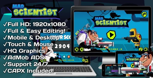 Mad Scientist - HTML5 Game 6 Levels + Mobile Version! (Construct 3 | Construct 2 | Capx)
