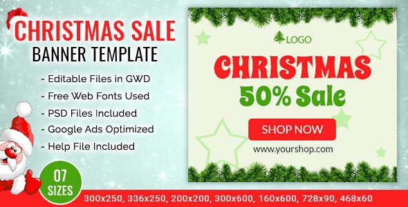 GWD | Christmas Sale Shopping Ad Banner Templates - 7 Sizes