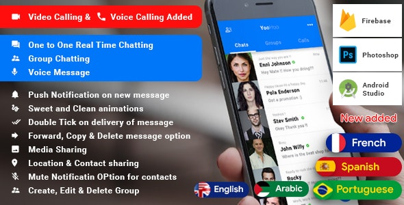 Android Chatting App with Voice/Video Calls, Voice messages + Groups