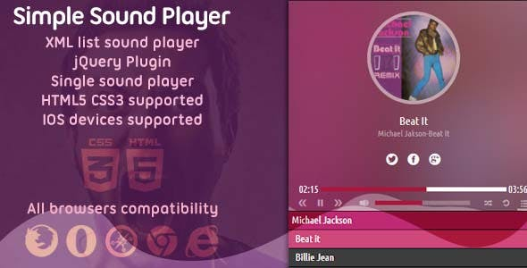 Simple Standalone Sound Player HTML5 with XML