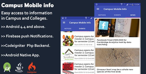 Campus Mobile Info Application with Admin Panel