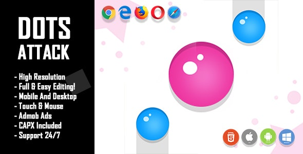 Dots Attack - HTML5 Game + Mobile Version! (Construct 2 / Construct 3 / CAPX) - CodeCanyon Item for Sale