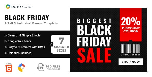 Cyber Monday HTML5 Banners - 7 Sizes