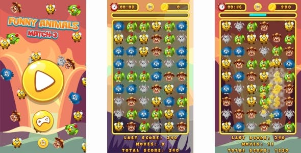 Funny Animals Match-3 - HTML5 Game + Mobile Version! (Construct 3 | Construct 2 | Capx)
