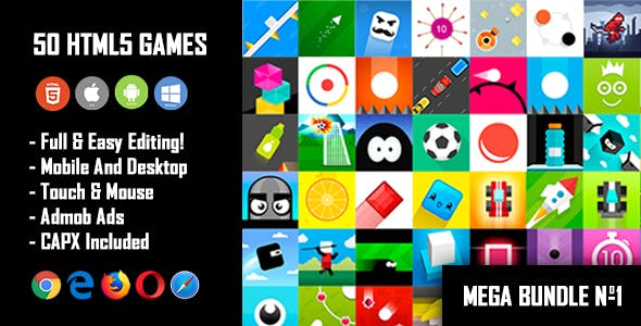 50 HTML5 Games + Mobile Version!!! MEGA BUNDLE №1 (Construct 2 / Construct 3 / CAPX)