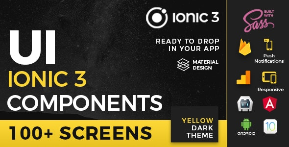 Ionic 3 UI Theme/Template App - Material Design - Yellow Dark by