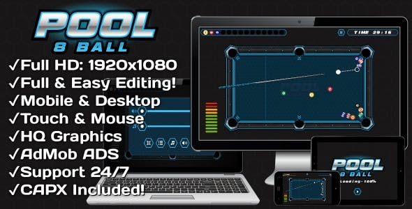 Pool 8 Ball - HTML5 Game + Mobile Version! (Construct 3 | Construct 2 | Capx)