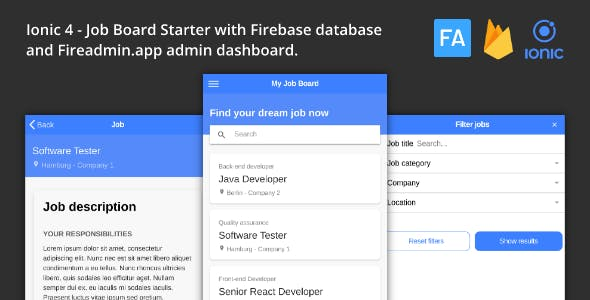 Ionic 4 Job Board with Firebase Database and Fireadmin Dashboard