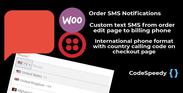 Twilio WooCommerce Order SMS Notification and International Billing Phone on Checkout