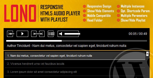 Lono - Responsive HTML5 Audio Player With Playlist WordPress Plugin