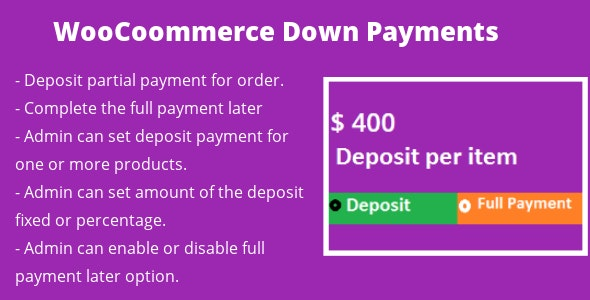 WooCommerce Deposit Down Payments - CodeCanyon Item for Sale