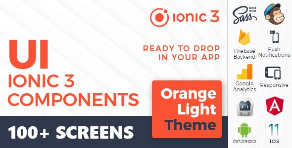 Ionic 3 / Angular 6 UI Theme /  Template App - Multipurpose Starter App - Orange Light - CodeCanyon Item for Sale