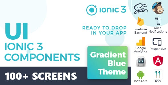 Ionic 3 / Angular 6 UI Theme /  Template App - Multipurpose Starter App - Gradient Blue Light