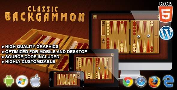 Classic Backgammon - HTML5 Board Game by codethislab