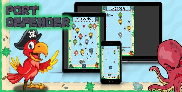 Port Defender - HTML5 Game (Construct 2-3)