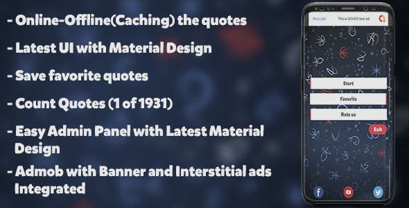 Quotes | Beautiful UI , Admin Panel , Admob and +1900 Quotes
