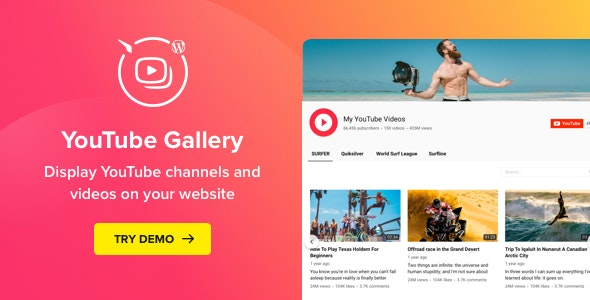 YouTube Plugin – WordPress YouTube Gallery - CodeCanyon Item for Sale