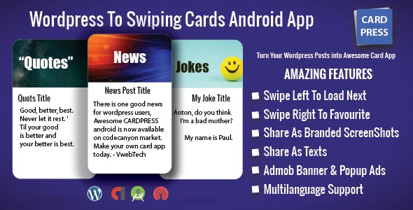 CardPress - Jokes - Quotes - News - Android App For Wordpress