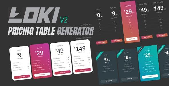 Loki Pricing Table Generator - CodeCanyon Item for Sale