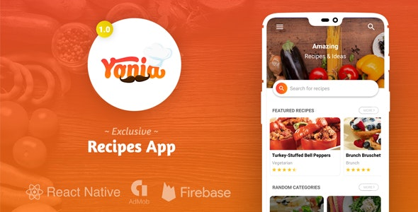 Yonia - Complete React Native Recipes App + Admin Panel by Wicombit