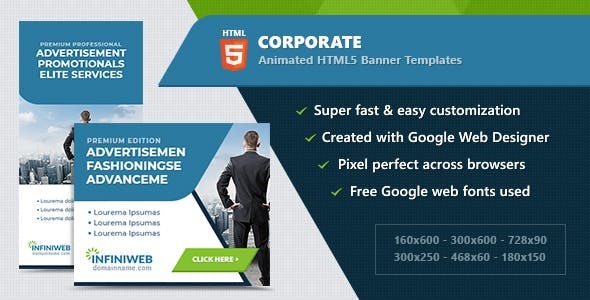 HTML5 Animated Banner Ads - Corporate (GWD)