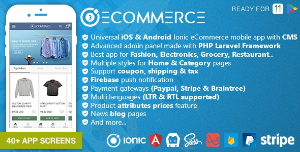 Ionic Ecommerce - Universal iOS & Android Ecommerce / Store