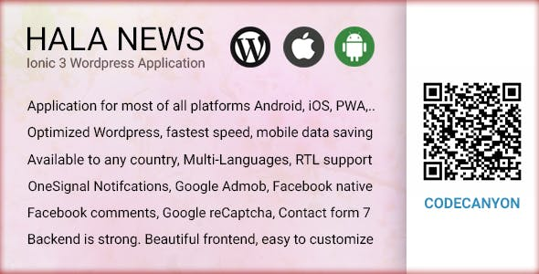 Full Ionic 3 Mobile App for WordPress - Admob, Native Ads, Social Login - Hala News Pro