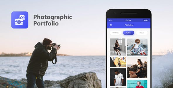 Photographic Portfolio app based on WordPress with AdMob and Firebase Push Notification