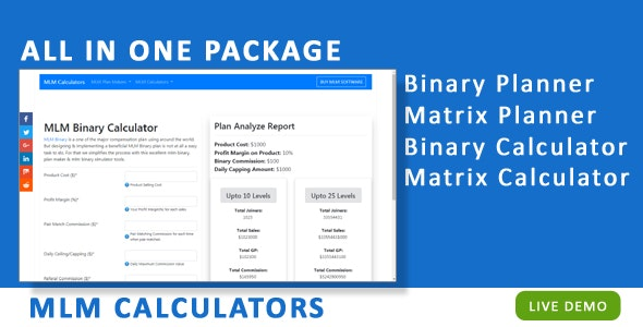 MLM Calculators for Network Marketing by nkm_swot | CodeCanyon