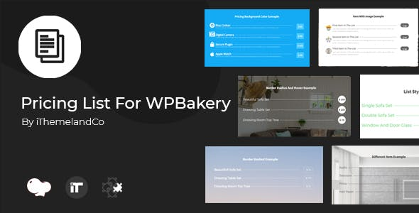 Pricing List For WPBakery Page Builder (Visual Composer)