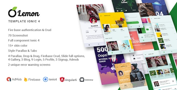Lemon - Ionic 4 Full Multiple Purpose Theme and Firebase CRUD - CodeCanyon Item for Sale