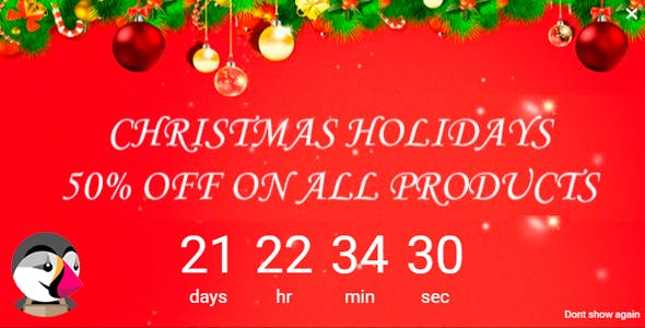 Christmas Holiday Popup Banner Discount Countdown