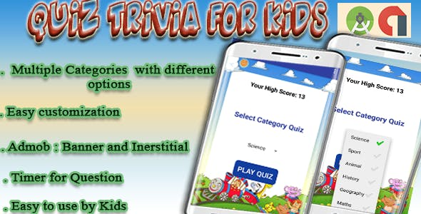 Trivia Quiz For kids - Game - Android Project with Admob (Interstitial and Banner)