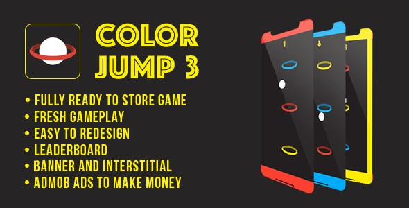 Color Jump 3 - Fun Arcade Game Android Template + easy to reskine + AdMob